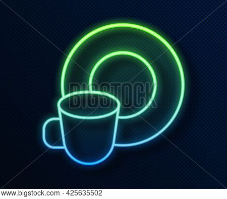 Glowing Neon Line Washing Dishes Icon Isolated On Blue Background. Cleaning Dishes Icon. Dishwasher