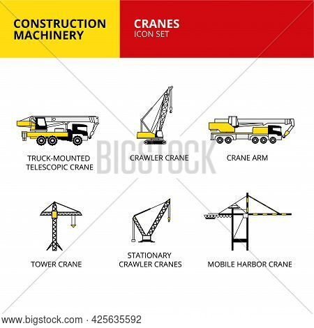 Cranes Vehicle And Transport Construction Machinery Icons Set Vector