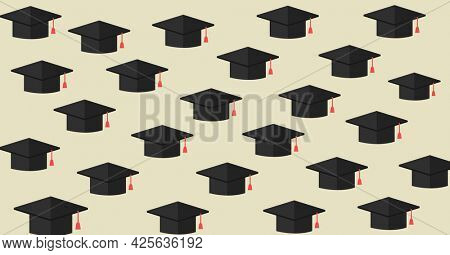 Composition of multiple graduation hats on beige background. education, school and learning concept digitally generated image.