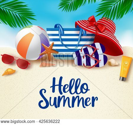 Hello Summer In Sand Background Vector Banner. Hello Summer Greeting Typography In White Space For T