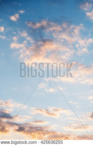 Vertical Photo Of Vibrant Color With Beautiful Cloud Of Sunrise And Sunset. Panoramic Image. Sunset