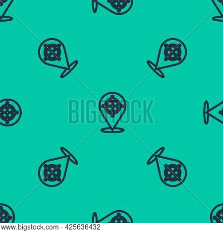 Blue Line Target Financial Goal Concept Icon Isolated Seamless Pattern On Green Background. Symbolic