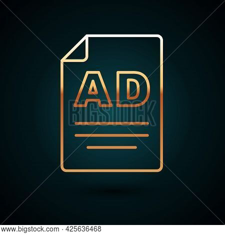 Gold Line Advertising Icon Isolated On Dark Blue Background. Concept Of Marketing And Promotion Proc