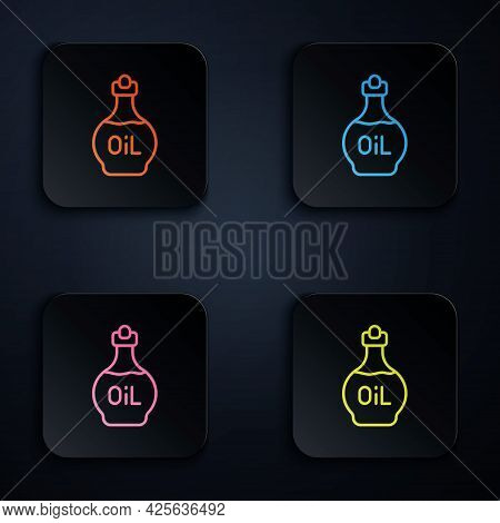 Color Neon Line Essential Oil Bottle Icon Isolated On Black Background. Organic Aromatherapy Essence