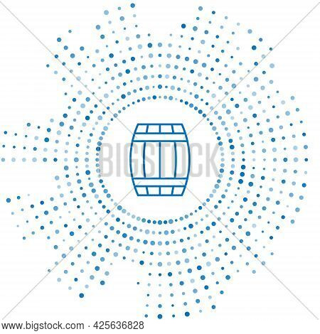Blue Line Wooden Barrel Icon Isolated On White Background. Alcohol Barrel, Drink Container, Wooden K