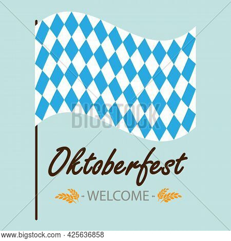Flag For Oktoberfest With Invitation, Vector Art Illustration.