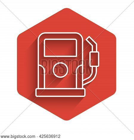 White Line Petrol Or Gas Station Icon Isolated With Long Shadow Background. Car Fuel Symbol. Gasolin