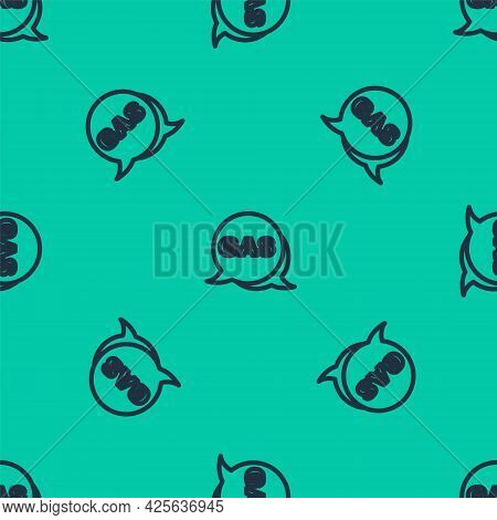 Blue Line Location And Petrol Or Gas Station Icon Isolated Seamless Pattern On Green Background. Car
