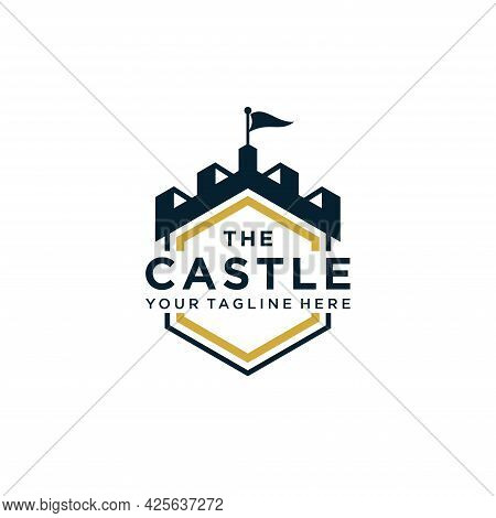 Authentic Castle Tower And Shield Silhouette For Real Estate, Vector Illustration