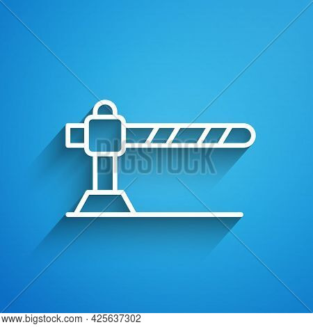 White Line Parking Car Barrier Icon Isolated On Blue Background. Street Road Stop Border. Long Shado