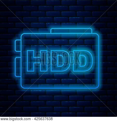Glowing Neon Line Hard Disk Drive Hdd Icon Isolated On Brick Wall Background. Vector