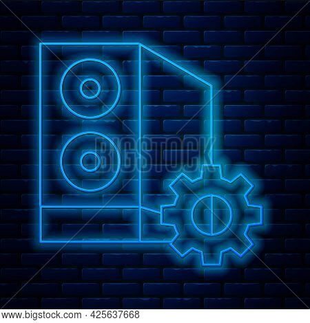 Glowing Neon Line Case Of Computer Setting Icon Isolated On Brick Wall Background. Computer Server.