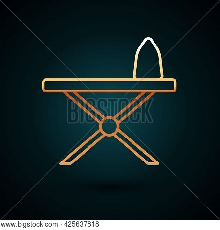 Gold Line Electric Iron And Ironing Board Icon Isolated On Dark Blue Background. Steam Iron. Vector