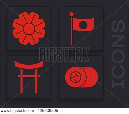 Set Sushi, Flower, National Flag Of Japan On Pole And Japan Gate Icon. Vector