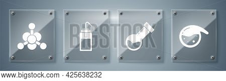 Set Test Tube And Flask Chemical, Test Tube And Flask Chemical, Laboratory Wash Bottle And Bacteria.