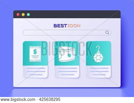 Set Stacks Paper Money Cash, Paper Check And Financial Check And Earring Icon. Vector