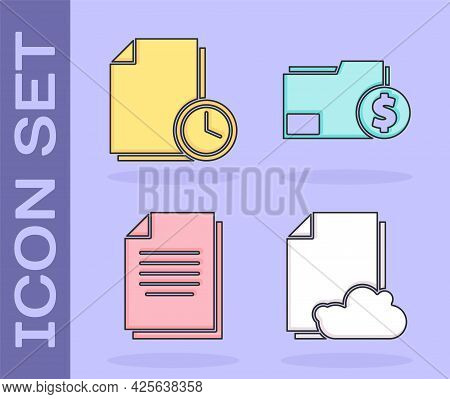 Set Cloud Storage Text Document, Document With Clock, Document And Finance Document Folder Icon. Vec