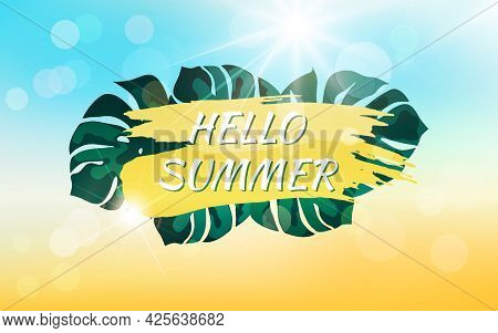 Abstract Summer Background With Sunbeams, Bokeh Effect And Text.