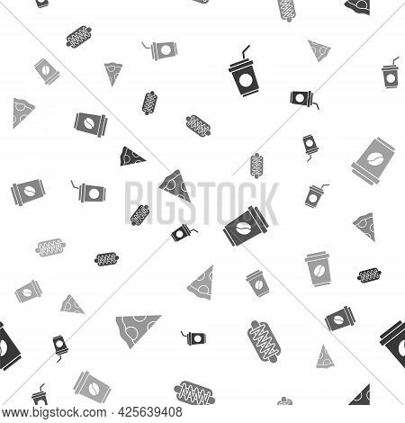 Set Paper Glass With Straw, Hotdog Sandwich, Coffee Cup To Go And Slice Pizza On Seamless Pattern. V