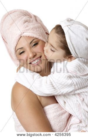 Mother Daughter At Bathtime