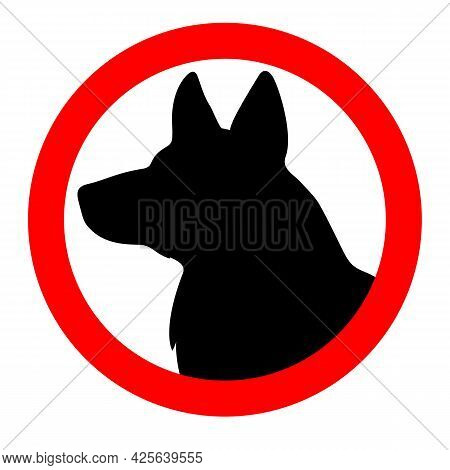 Sign Warning About A Dog Guarding An Object. Caution Dog.