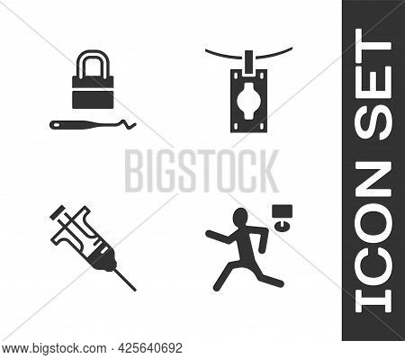 Set Murder, Lock Picks For Lock Picking, Syringe And Money Laundering Icon. Vector