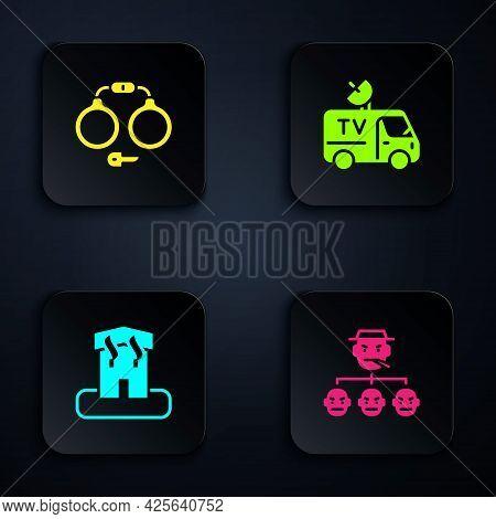 Set Mafia, Handcuffs, Arson Home And Tv News Car. Black Square Button. Vector