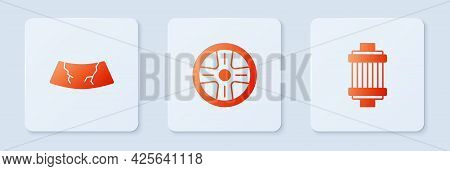 Set Alloy Wheel, Broken Windshield And Car Air Filter. White Square Button. Vector