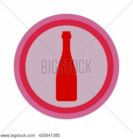 Bottle Of Red Wine. Background Is Circle. Isolated Color Object Design Beverage. Graphic Illustratio