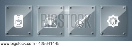 Set Muslim Mosque, Lute, Man And Star And Crescent. Square Glass Panels. Vector