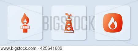 Set Oil Rig, With Fire And Fire Flame. White Square Button. Vector