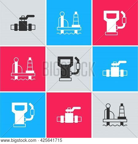 Set Metallic Pipes And Valve, Oil Platform In The Sea And Petrol Gas Station Icon. Vector
