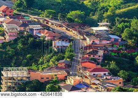 Aerial View Mae Salong Village In Early Morning Doi Mae Salong, Chiang Rai, Thailand. Beautiful View