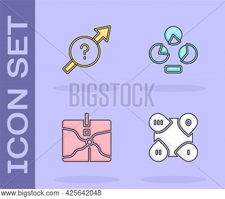 Set Infographic Element, Arrow, Intersection Point And Pie Chart Infographic Icon. Vector