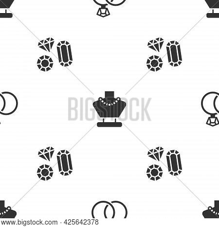 Set Wedding Rings, Necklace On Mannequin And Gem Stone On Seamless Pattern. Vector