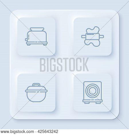 Set Line Toaster, Rolling Pin On Dough, Cooking Pot And Electric Stove. White Square Button. Vector