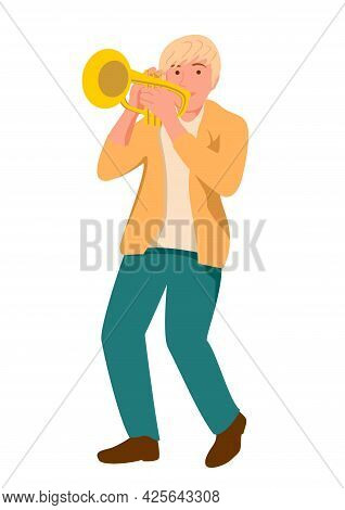 Musician Playing Trumpet Instrument. Jazz Music, Jazz Singer, Concert Concept. Trumpet Player On Iso