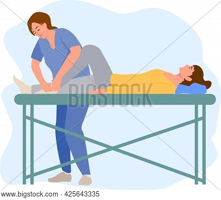 Physiotherapy Rehabilitation Assistance Vector Illustration. Patient Lying On Massage Table Therapis