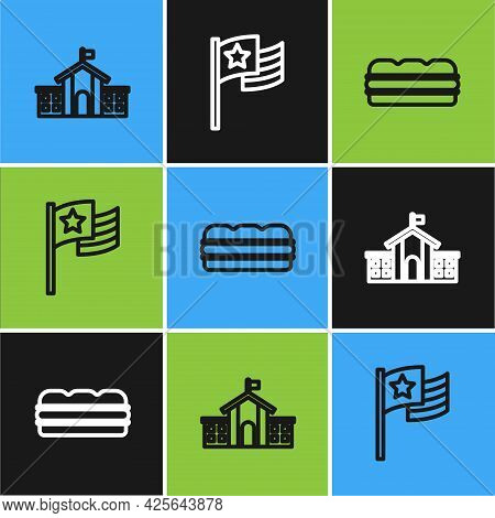 Set Line United States Capitol Congress, Sandwich And American Flag Icon. Vector
