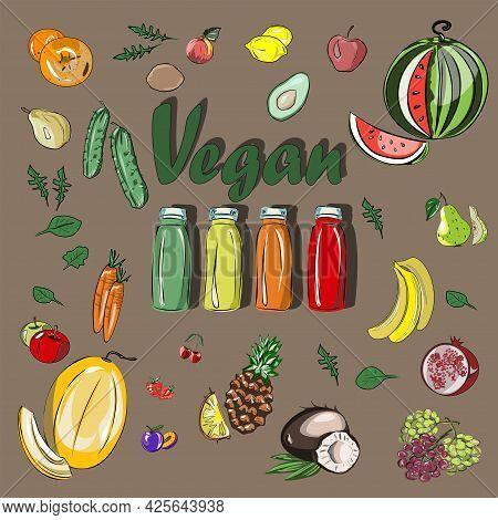 Fruits, Vegetables, Veganism. Vegan Smoothie Ingredients Set. Summer Set Of Healthy Nutrition. All I