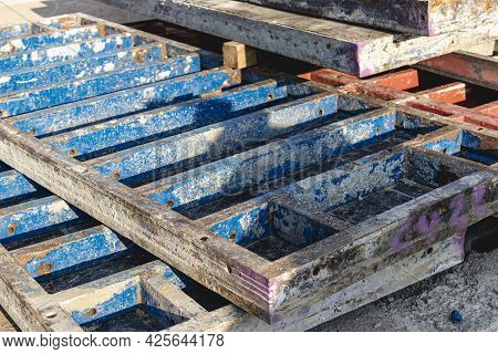 Industrial Formwork For Concrete Foundations. Construction Site. Construction Equipment. Monolithic