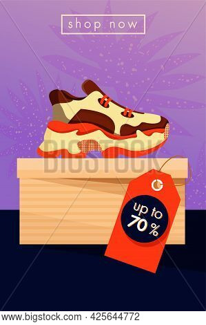 Sale Vector Poster. Sneakers Shoes On The Box. Sport Shop Footwear Collection. Illustration For A Sh