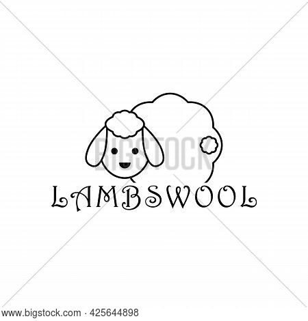 Lambswool Logo With Cute Sheep. Lamb Linear Outline Isolated Illustration. Vector Drawing.