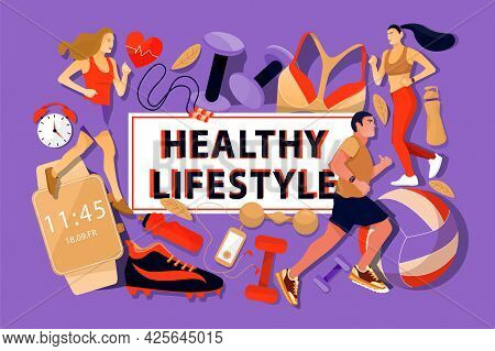 Fitness Lifestyle Concept With Running Womans, Man And Sports Equipment. Sport And Healthy Lifestyle
