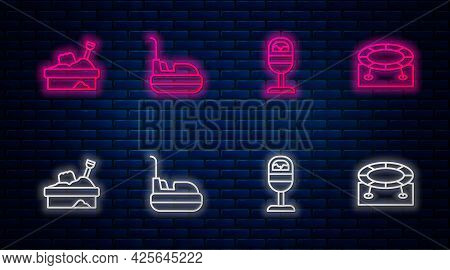 Set Line Bumper Car, Trash Can, Sandbox With Sand And Jumping Trampoline. Glowing Neon Icon On Brick