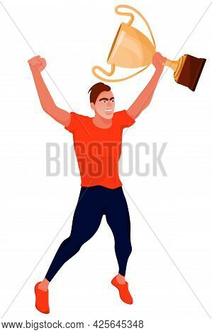 Vector Illustration With Happy Sport Athlete Holding Gold Award Cup And Running. Winning Concept Wit