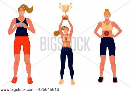 Sport Award Illustration. Winners With Award Cup And Medals. Vector Flat Illustration On White Backg