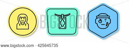 Set Line Thief Mask, Money Laundering And Bandit. Colored Shapes. Vector