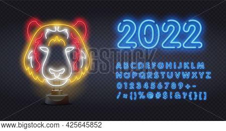 2022 Tiger Face Neon Sign. Wild Animal, Zoo, Nature Design. Bengal Tiger Neon Light Icon. Panthera T