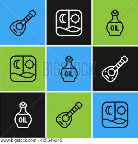 Set Line Lute, Essential Oil Bottle And Ramadan Fasting Icon. Vector